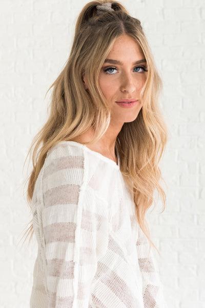White Striped Sheer See Through Sweater for Winter from Online Boutique