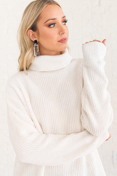 White Cozy Warm Cute Pullover Cowl Neck Chenille Sweaters for Women