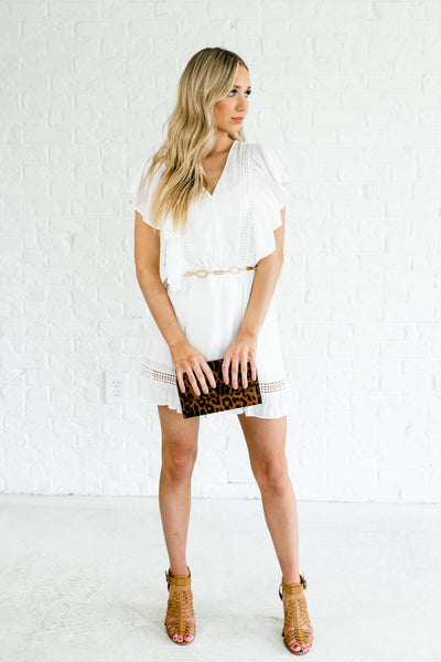 White Mini Dresses with Ruffled Hem Butterfly Sleeves and Crochet Detailing