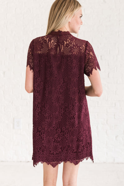 Wine Purple Cute Fall Bridesmaid Sorority Party Mini Lace Dresses