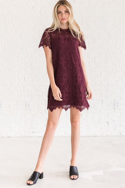 Wine Purple Lace Floral Mini Cocktail Dresses for Women