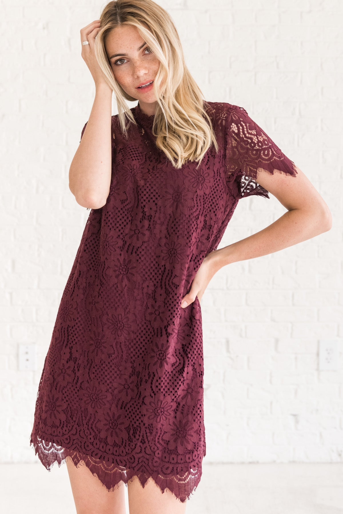 Wine Burgundy Purple Floral Lace Party Sorority Mini Dress