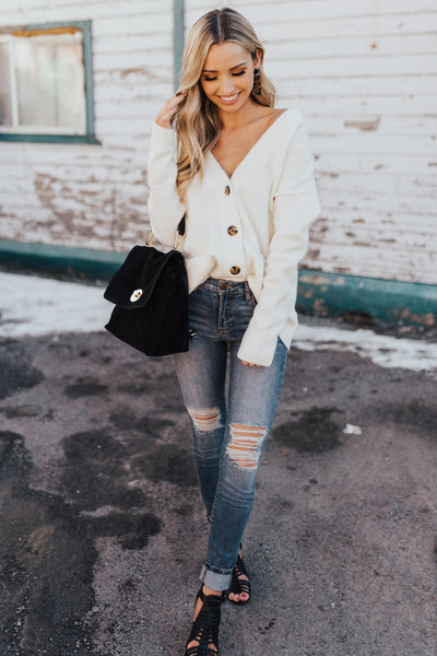 Cream White Boutique Button Up Cardigans for Womens Winter Cozy Fashion