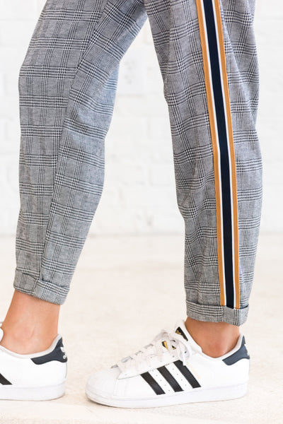Black Navy Mustard Plaid Pants for Office or Going Out