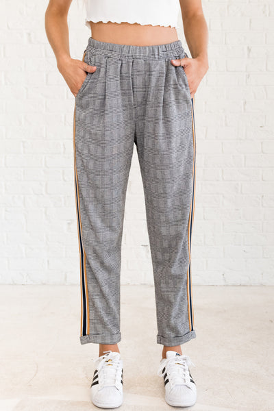 Black Navy Mustard Plaid Color Block Striped Dress Pants for Fall