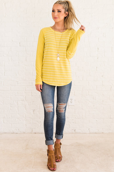 Yellow Pullover Top with Striped Bodice and Elbow Patch Accents