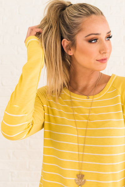 Yellow Long Sleeve Pullover Top with Striped Pattern and Elbow Patches