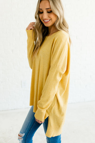 Yellow Cute Front Seam High Low Sweaters with Oversized Boyfriend Fit for Women