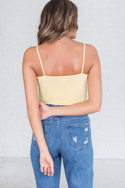 yellow strappy criss cross strap front cute tank tops for women