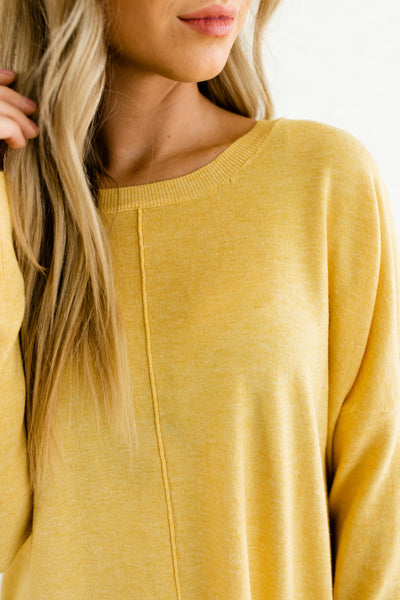 Yellow Cute Oversized Front Seam Split Hem High Low Boutique Sweaters for Women