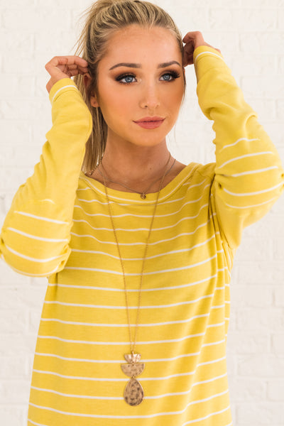 Yellow Striped Boutique Pullover Tops with Stripes and Elbow Patches