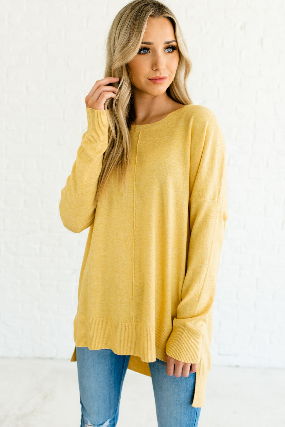 Yellow Oversized Cute Front Seam Split Hem High Low Pullover Sweaters for Women