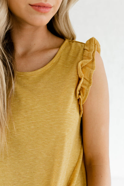 Yellow Striped Ruffle Sleeve Front Knot Boutique Tops for Women