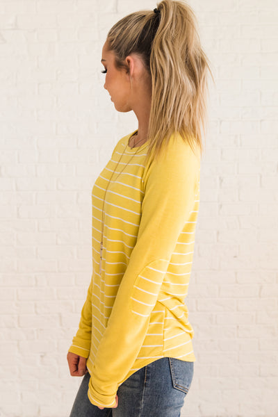 Yellow Cute Striped Pullover Top with Striped Pattern Elbow Patches Boutique Fashion
