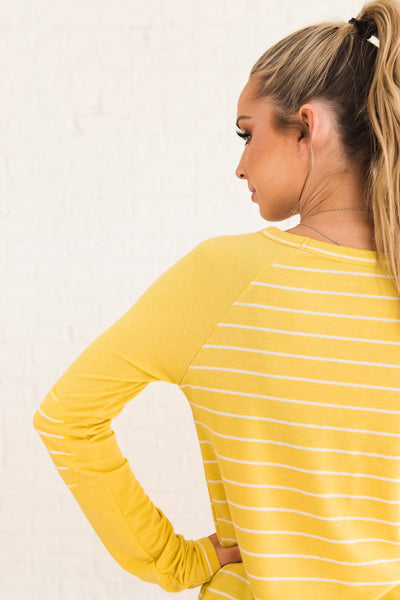 Yellow Striped Raglan Sleeve Top with Striped Pattern and Elbow Patch Accents
