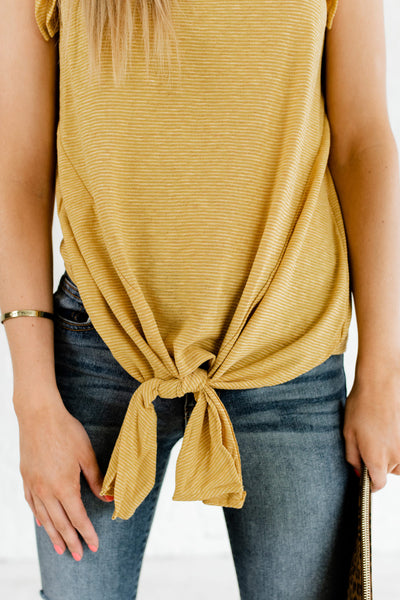 Yellow Striped Front Tie Knot Accent Ruffle Tops for Spring