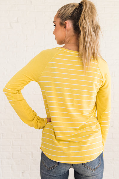 Yellow Long Sleeve Pullover Tops with Striped Pattern and Elbow Patch Accents
