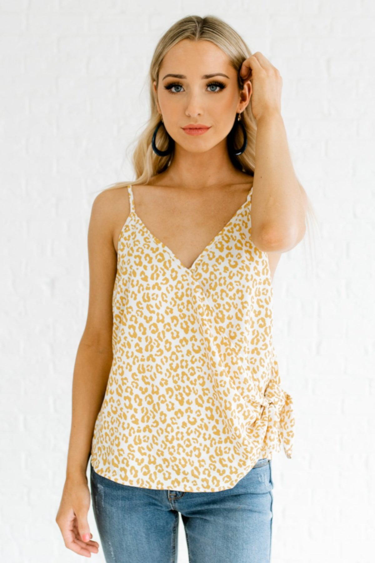 Mustard Yellow and White Leopard Print Pattern Boutique Tanks for Women