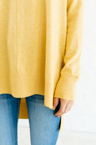 Yellow Boyfriend Fit Oversized Cozy Warm Soft Stretchy High Low Boutique Sweaters