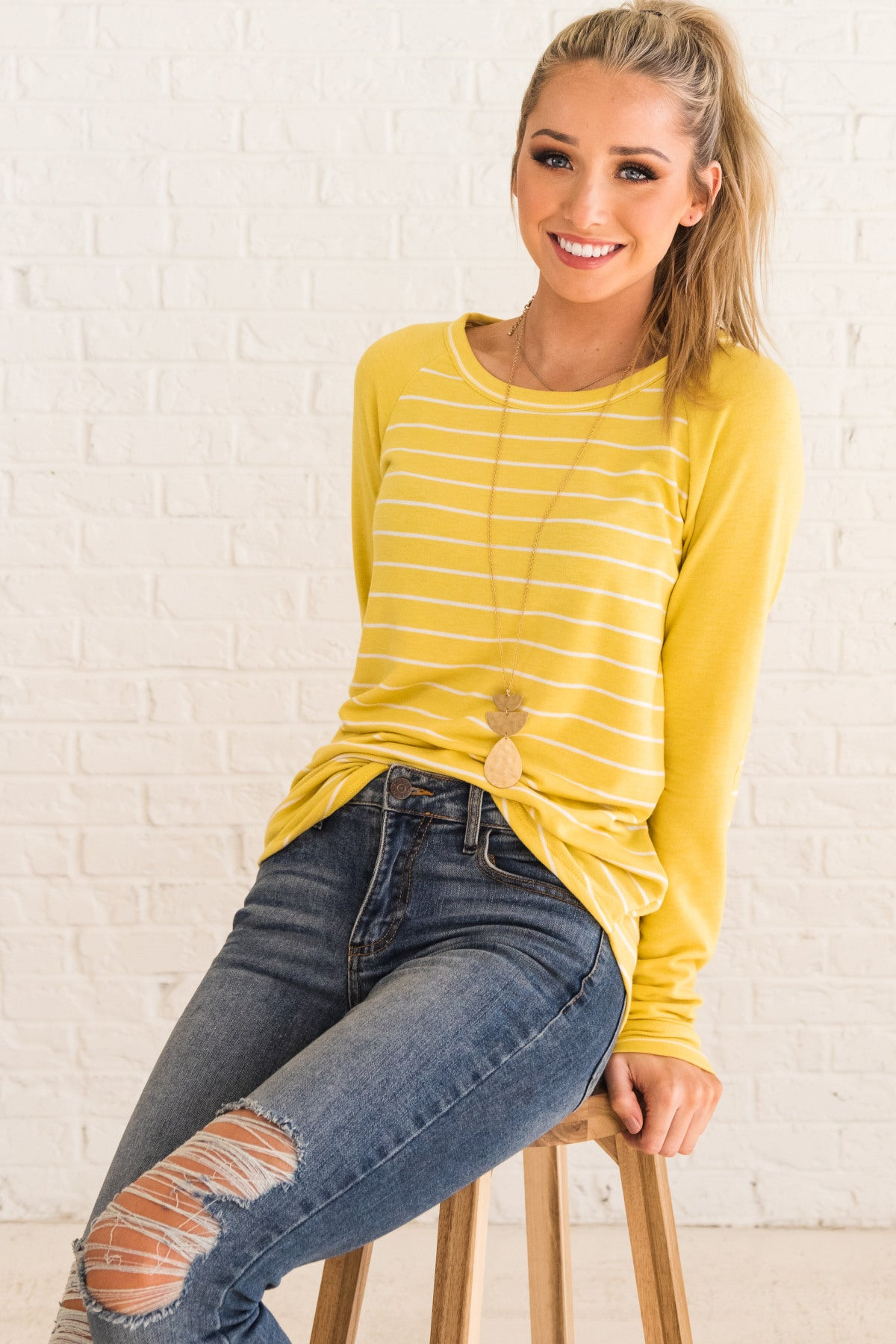 Yellow Striped Long Sleeve Soft Pullover Top with Elbow Patches and Color Block Style