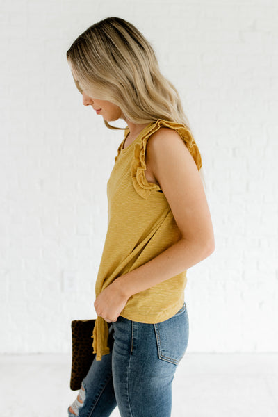 Yellow Striped Ruffle Sleeve Front Knot Tops for Spring and Summer