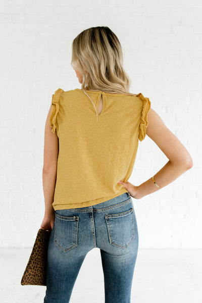 Yellow Striped Pattern Front Knot Ruffle Tops Affordable Online Boutique