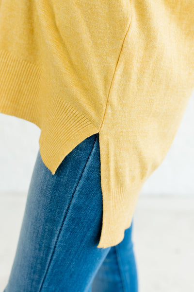 Yellow Cute Oversized Boyfriend Fit Front Seam High Low Sweaters for Women