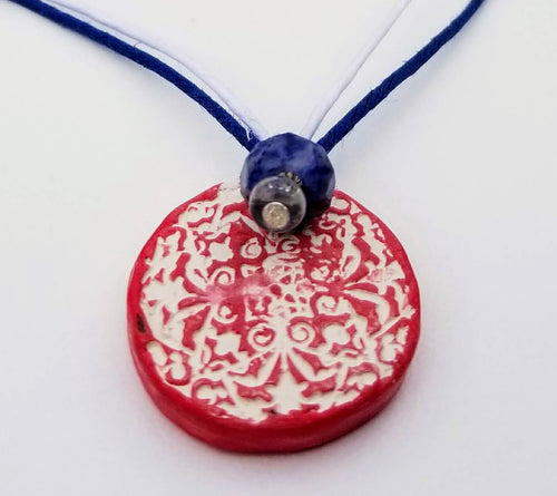 Red White and Blue Lace Pendant