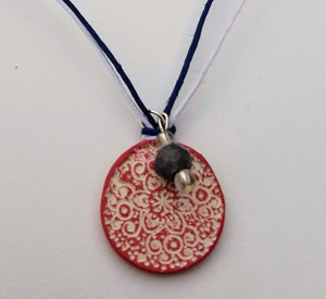 Red White and Blue Flower Pendant