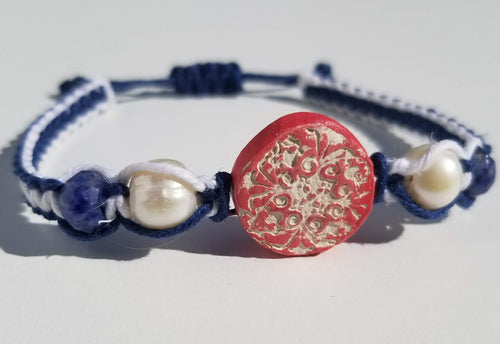 Red, White, and Blue Lace Flower Pendant