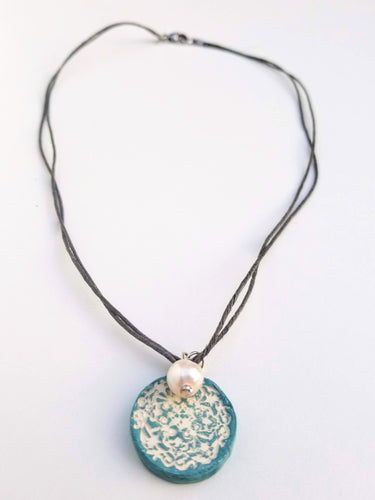 Light Shade of Grey Lace Pendant