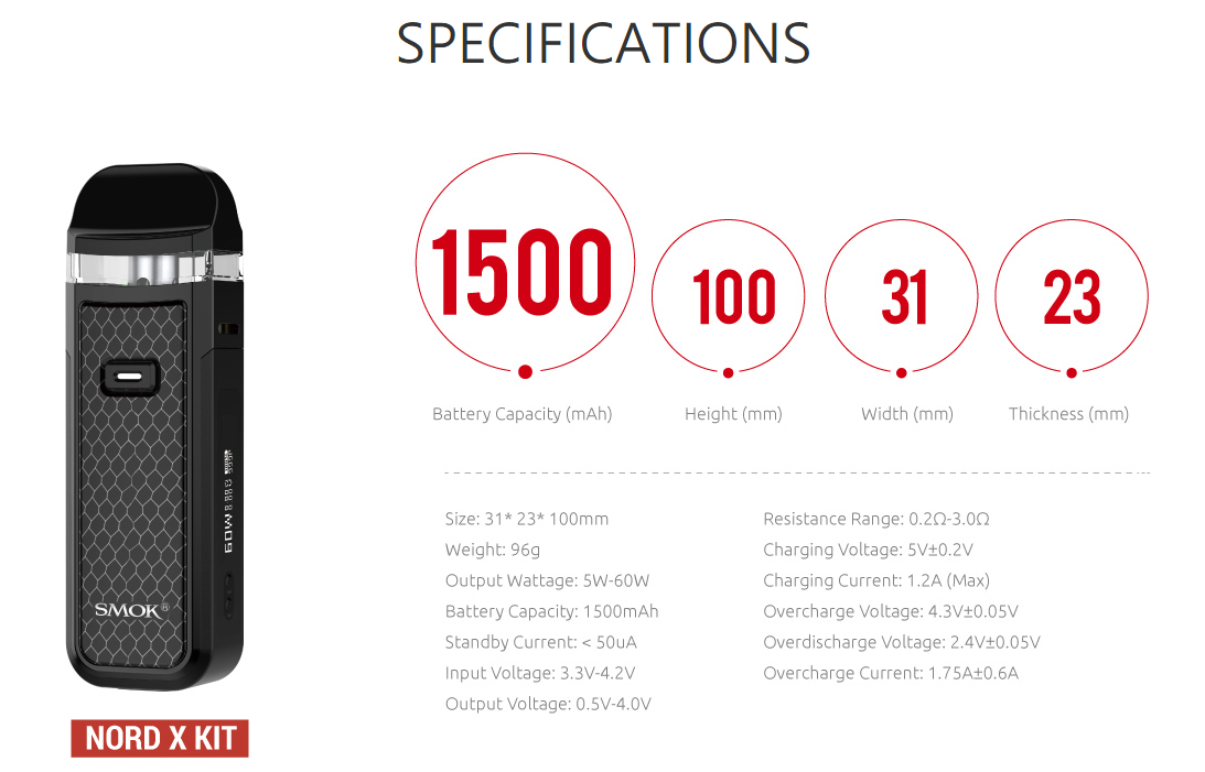 smok nord x specifications