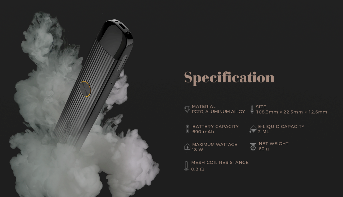 uwell caliburn g specifications