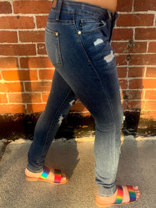 Serape Distressed Skinny Denim