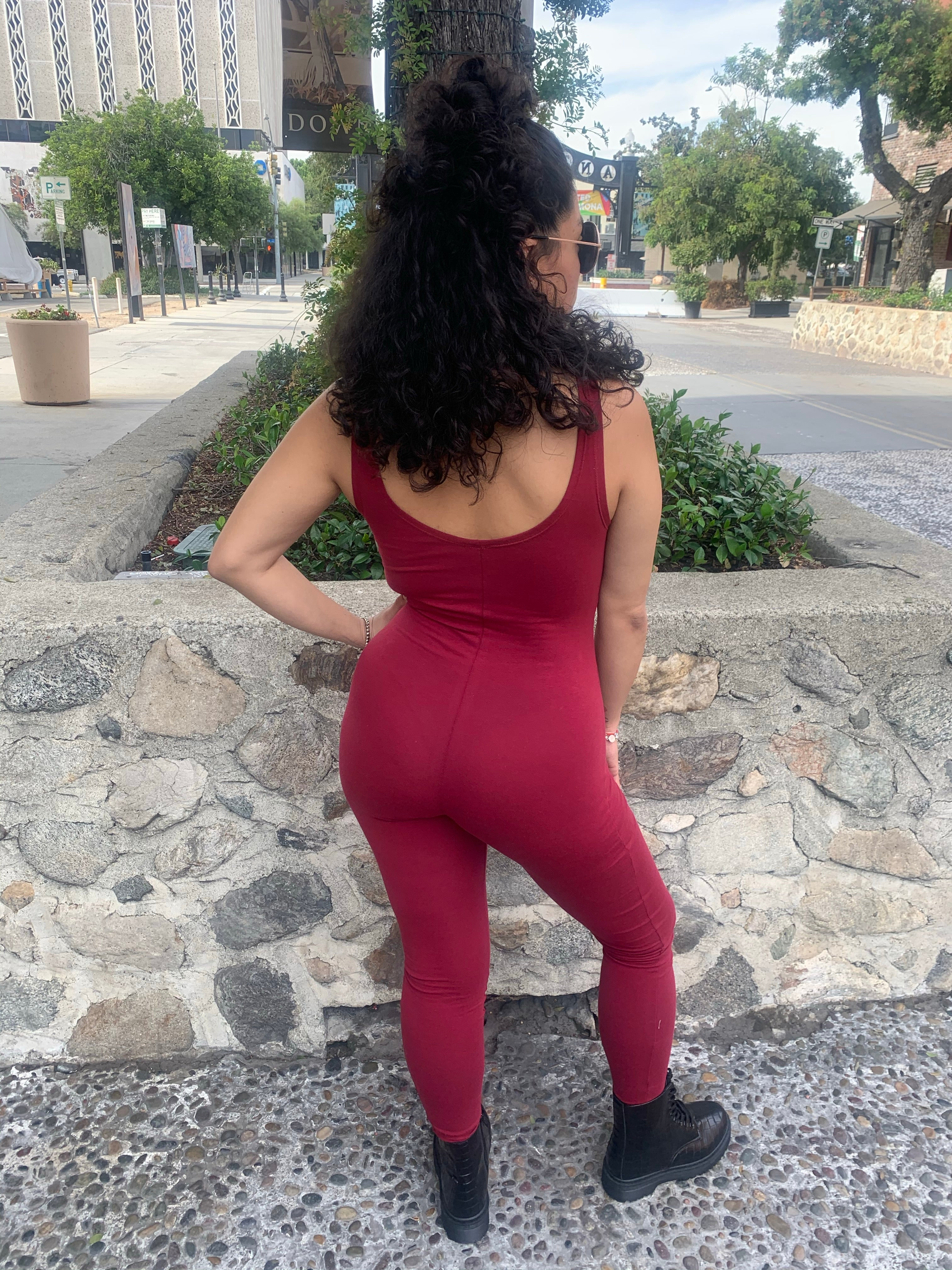 Full Burgundy Bodysuit Romper