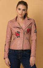 Load image into Gallery viewer, Rockin' Rose Vegan Leather Jacket