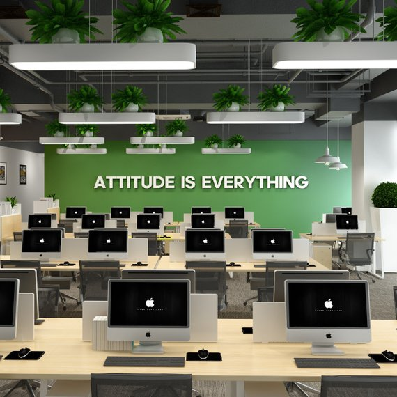 Wandzitat für Büro & Home-Office ATTITUDE IS EVERYTHING von DotComCanvas