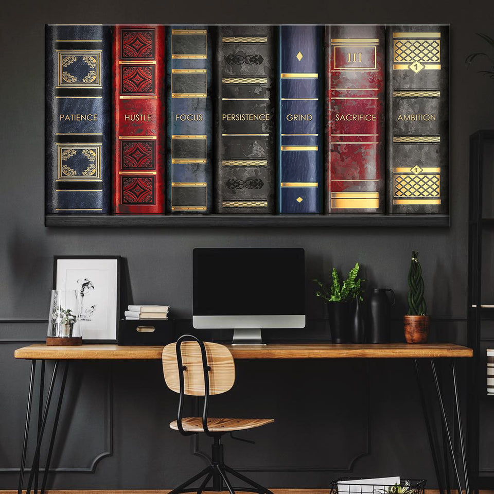 Wandbild für Büro & Home-Office BOOKS BUILD MINDSET von DotComCanvas
