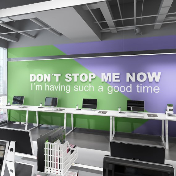 Wandzitat für Büro & Home-Office DON'T STOP ME NOW von DotComCanvas
