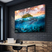 Wandbild für Büro & Home-Office THE BEST THINGS IN LIFE HAPPEN UNEXPECTEDLY von DotComCanvas