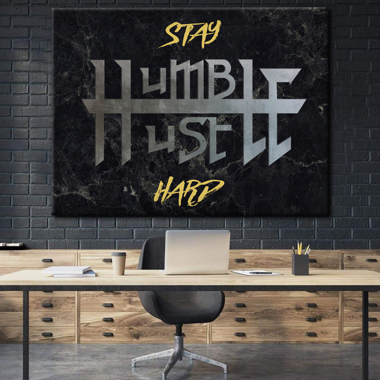 Wandbild für Büro & Home-Office STAY HUMBLE X HUSTLE HARD von DotComCanvas