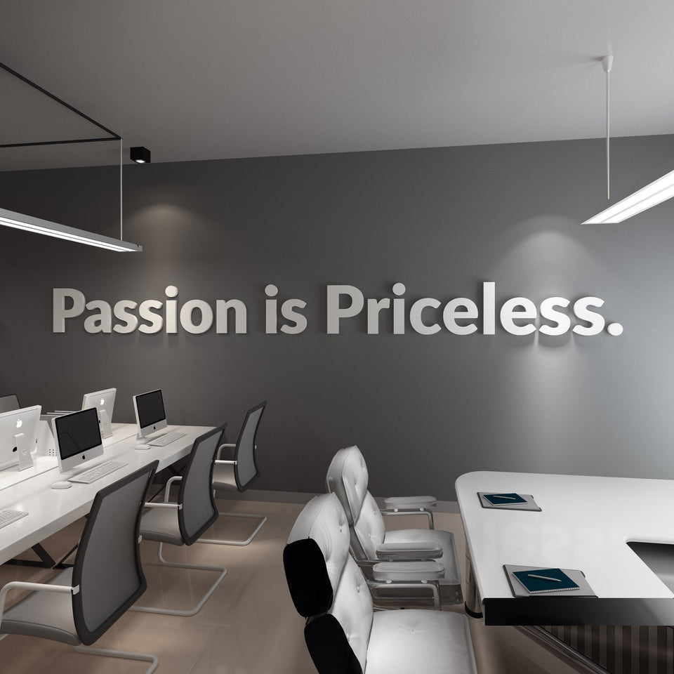 Wandzitat für Büro & Home-Office PASSION IS PRICELESS von DotComCanvas