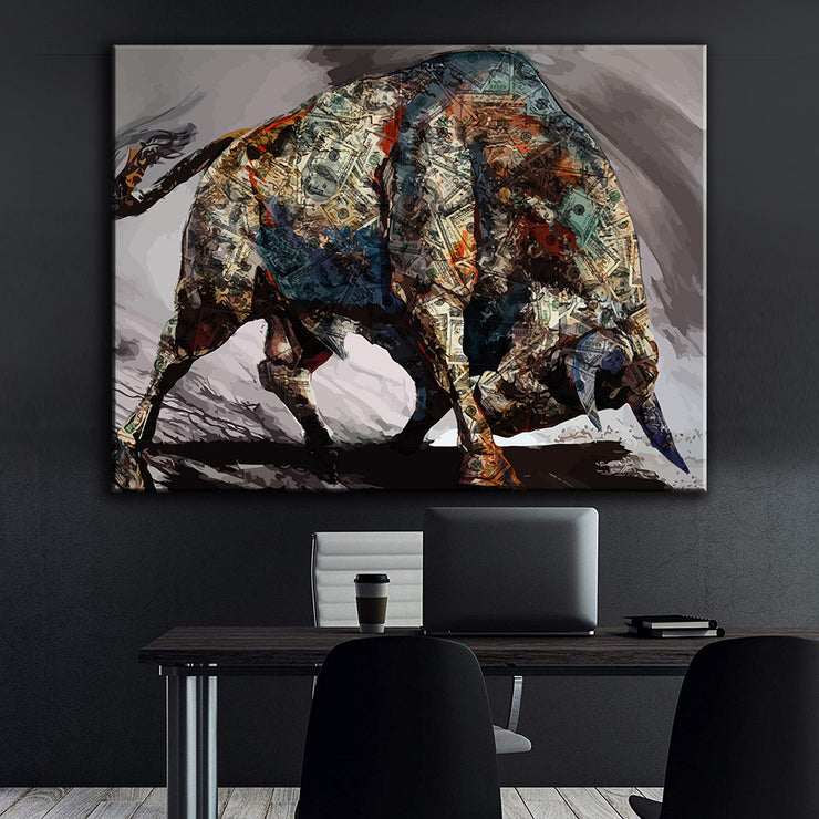 Wandbild für Büro & Home-Office MONEY BULL von DotComCanvas