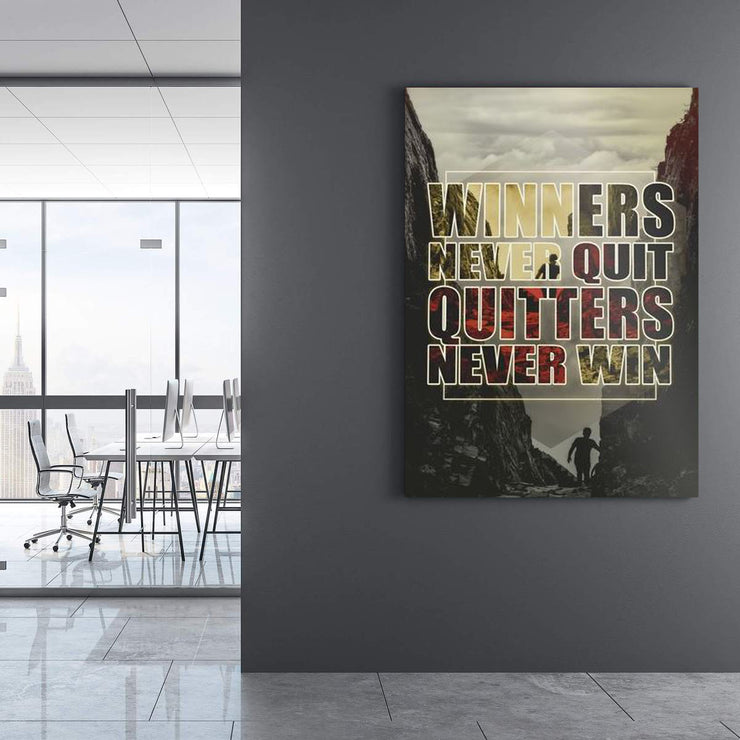 Wandbild für Büro & Home-Office WINNERS NEVER QUIT von DotComCanvas