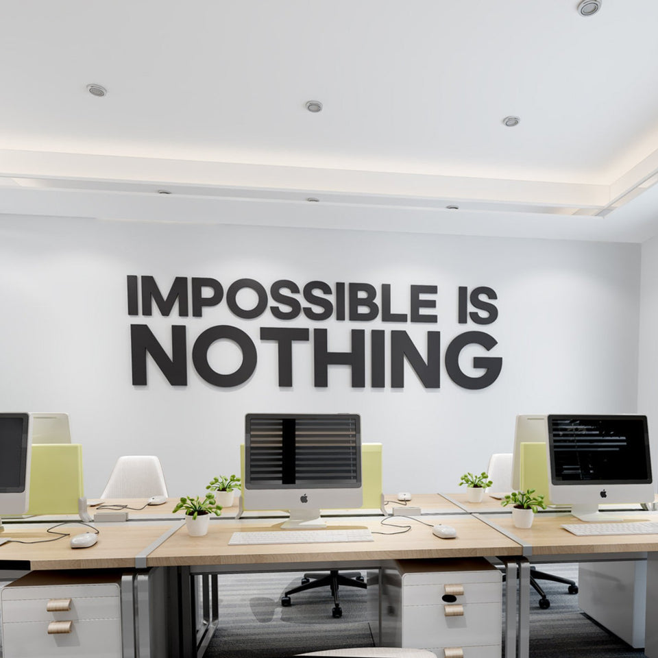 Wandzitat für Büro & Home-Office IMPOSSIBLE IS NOTHING von DotComCanvas