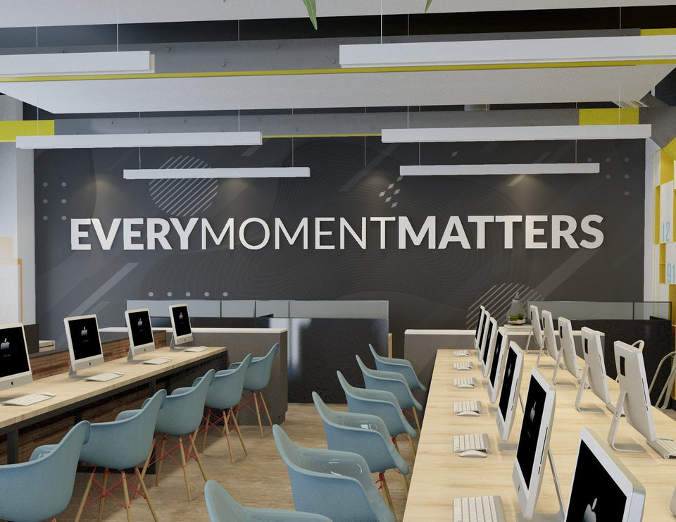 Wandzitat für Büro & Home-Office EVERY MOMENT MATTERS von DotComCanvas