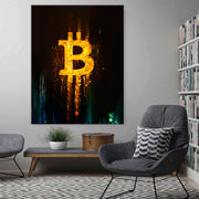 Wandbild für Büro & Home-Office GLOWING BITCOIN von DotComCanvas