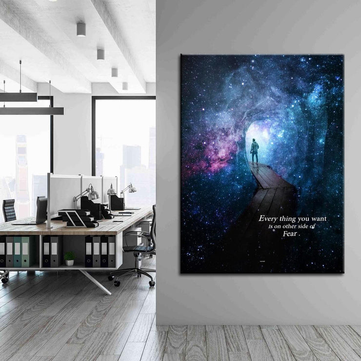 Wandbild für Büro & Home-Office EVERYTHING YOU WANT VS FEAR von DotComCanvas