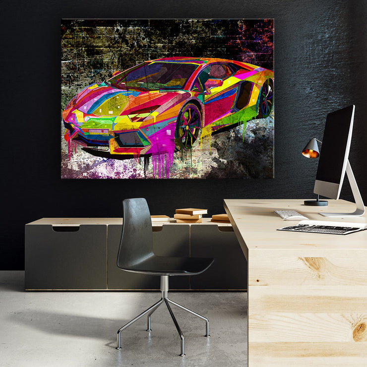 Wandbild für Büro & Home-Office SPLASH CAR von DotComCanvas