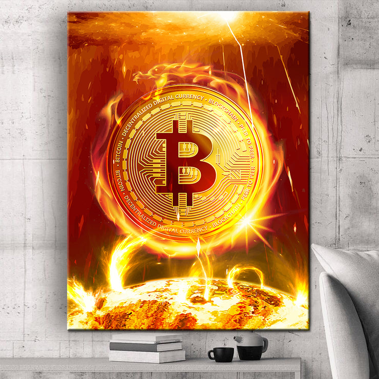 Wandbild für Büro & Home-Office BITCOIN ON FIRE von DotComCanvas